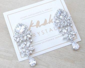 White Gold Silver Earrings Teardrop Bridal Wedding Earrings