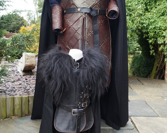 """Toddlers, Brown leather trimmed, Jon Snow, Game of Thrones 100% Real Leather & Sheep Skin costume. Maximum height for this costume is 35"""""""