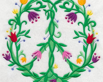 VINES & BLOOMS PEACE Sign 70s Hippie Symbol Machine Embroidered Quilt Square, Art Panel