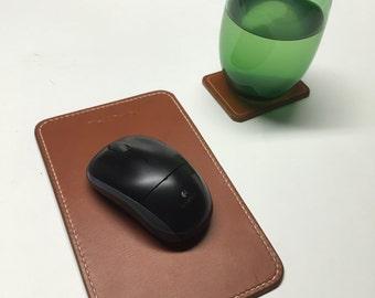 Leather mousepad, computer mousepad, Tan London computer mousepad, leather mousepad with stitching,
