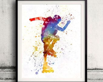Man roller skater inline 02 - Fine Art Print Glicee Poster Home Watercolor sports Gift Room Children's Illustration Wall - SKU 2249