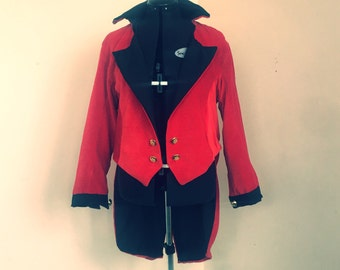Red velvet tailcoat jacket coat fully lined great for historical military costume, ringmaster, nutcraker, and many more womens cosplay