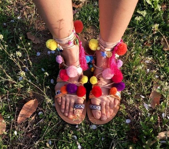 Pom Pom sandali alla schiava-Multi colori
