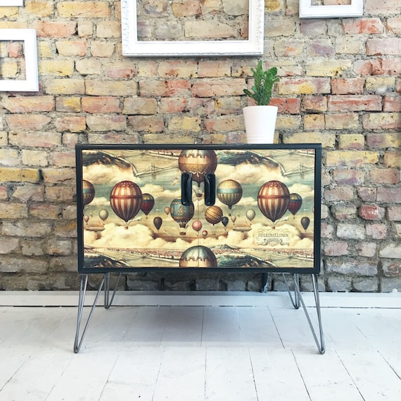 Upcycled vintage retro mid century Gplan cabinet cupboard TV stand hairpin legs balloon decoupage
