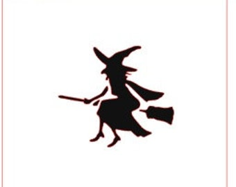 Witch on Broom Stencil