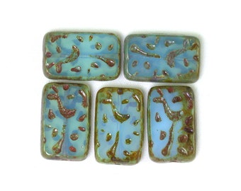 Turquoise opaline w/ picasso 18 x 12mm grooved rectangle. Set of 4, 5, 10 or 20.
