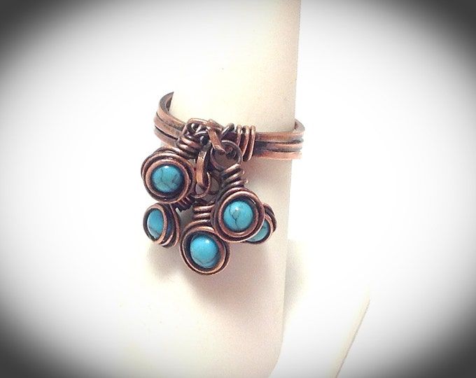 Triple band copper wire wrapped ring with turquoise dangles