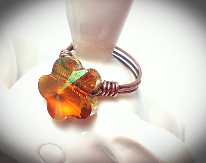 Crystal flower ring, Copper wire wrapped ring with Swarovski Crystal in Amber