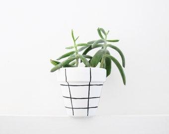 Hand Painted Grid Plant Pot - 11cm