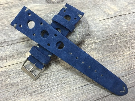 Suede blue color vintage real Leather Strap (racing strap, rally strap) for Rolex, IWC - 18mm / 19mm / 20mm / 22mm watch band