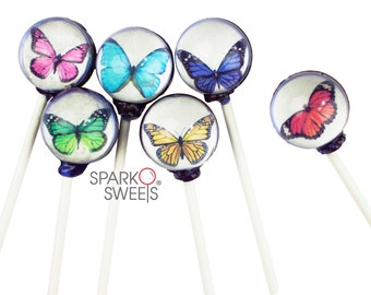 Colorful Butterfly Collection Gourmet 3D Lollipops by Sparko Sweets Handmade Hard Candy ( 10 Pieces Set)