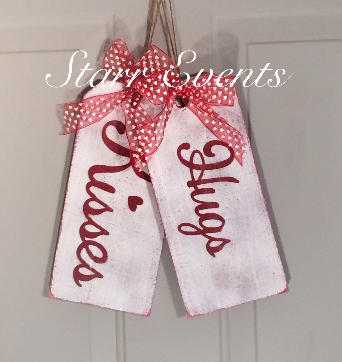 Hugs And Kisses Sign. Wooden Tag Signs. Valentine's Day