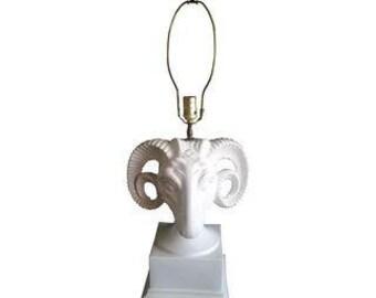 Vintage Ceramic Ram's Head Table Lamp
