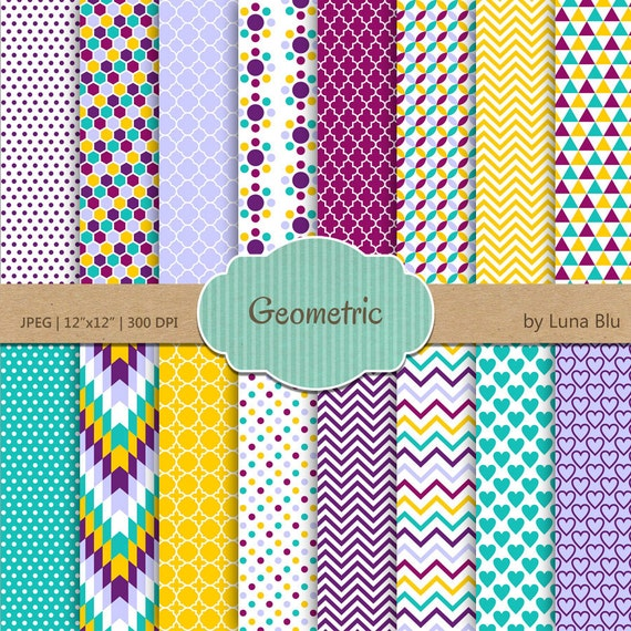 "Geometric Digital Paper: ""Colorful Geometric"" Scrapbook"