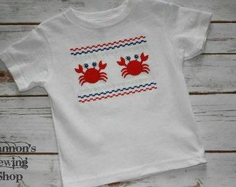 Smocked Crab Shirt, Summer Crab Shirt, Boys Summer Shirt