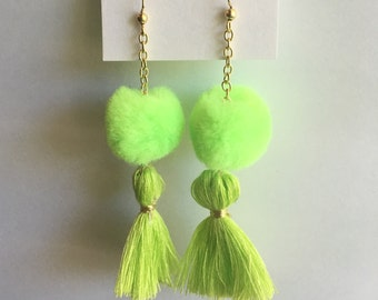 Lime Green Pom Pom Tassel Earrings