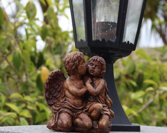 Stone Garden Ornament, Kissing Angel Cherubs,  Lawn Decor, Made in Cornwall,  Cornwall Stoneware, Gift Idea