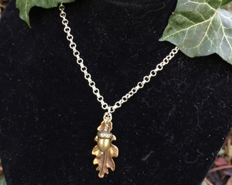 Brass Oak Leaf & Acorn Necklace