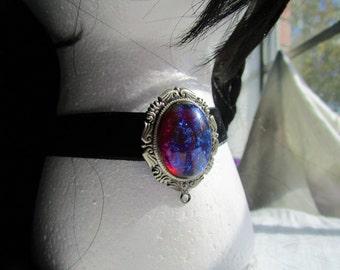 Dragon's Breath Opal Choker/ Victorian Choker/ Gothic Choker/ Fire Opal Necklace/ Mexican Opal/ Black Velvet Choker