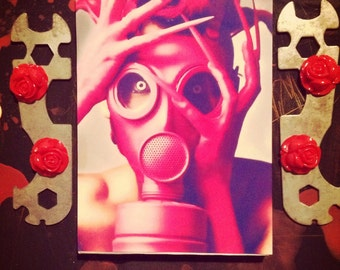 The Pink Gas Mask - mixed media collage altered art assemblage