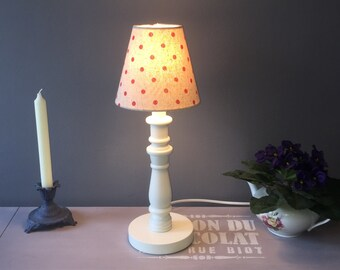 Rustic Linen Polka Dot Candle Clip Lampshades Red/White