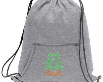 Sweatshirt material cinch bag with front pocket and embroidered spirit design - Frog - Multiple Colors - Camouflage - BG614