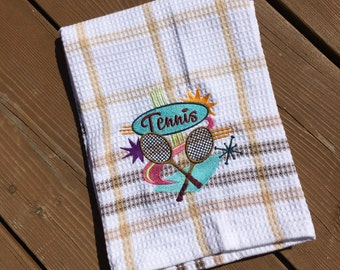 Personalized Tea Towel, Embroidered Tea Towel, Tennis Kitchen Towel