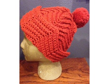 70's burnt orange crocheted beanie with pom pom - rust colored 70's vintage beanie - knot skull cap