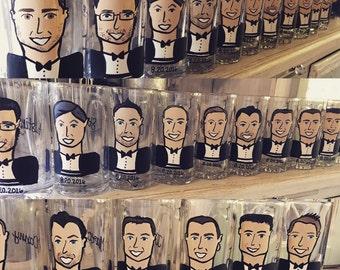Cartoon Groomsmen Glasses - Beer stein or Wine glass option.
