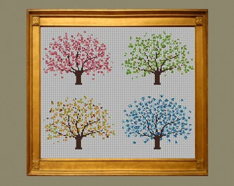 Four Seasons Tree Cross Stitch Pattern PDF Instant Download Spring Summer Autumn Winter