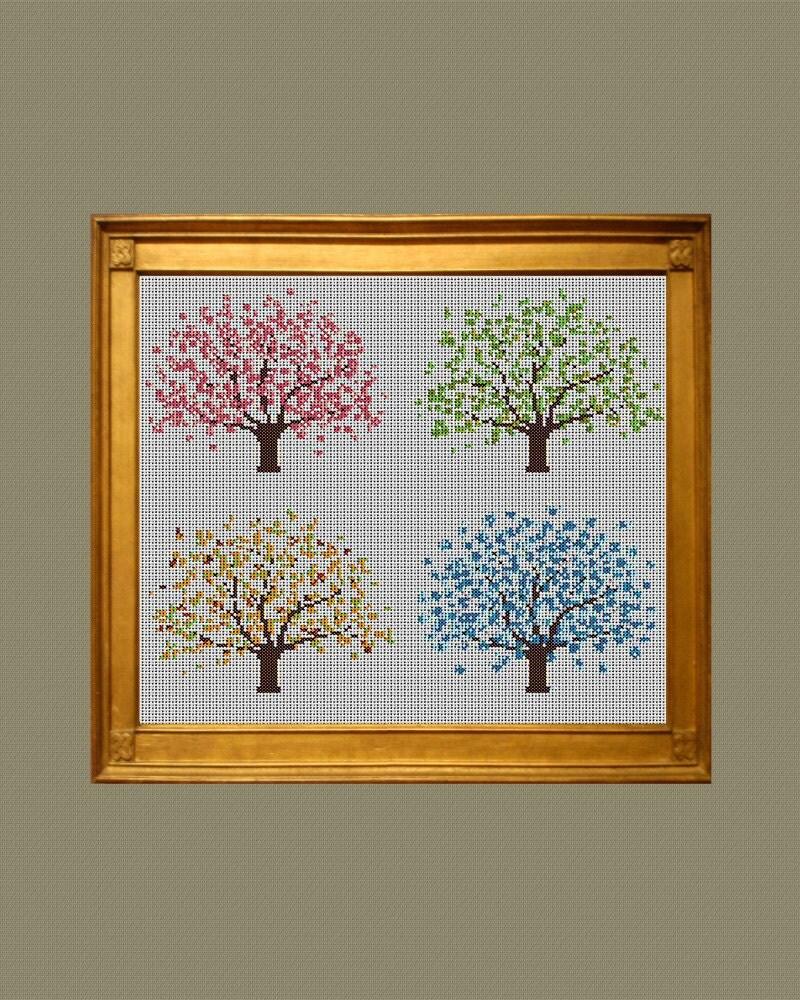 Four Seasons Tree Cross Stitch Pattern Pdf Instant Download