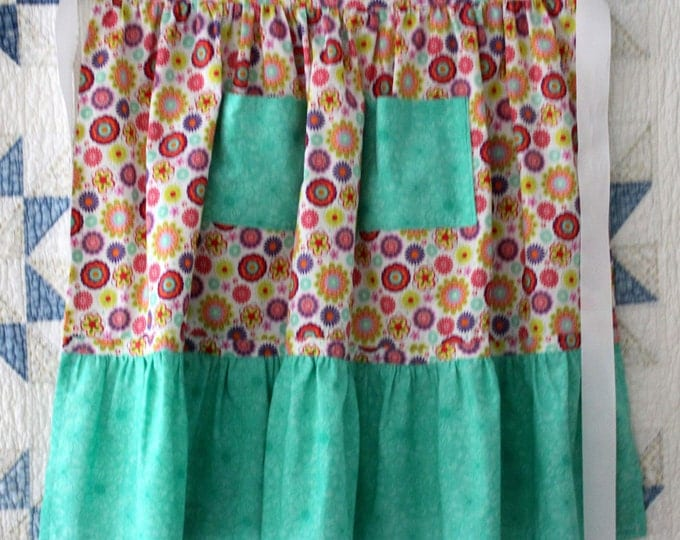 HALF PRICE ** Feminine Multi Color Mod Floral Half Apron. Turquoise Ruffle and Pockets on Boho Half Apron. Matching Girl's Apron Available