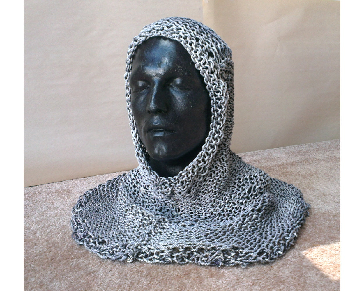 Knitted Chainmail Pattern : Knitted Chainmail Hood Test Pattern Size XL