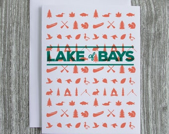 Lake of Bays - Ontario Cottage Country - Letterpress Blank Greeting Card on 100% Cotton Paper