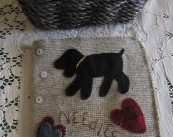 Primitive Folk Art Wool Applique Needlebook Pattern - Mary's Needlebook - Pinkeep - Embroidery Book