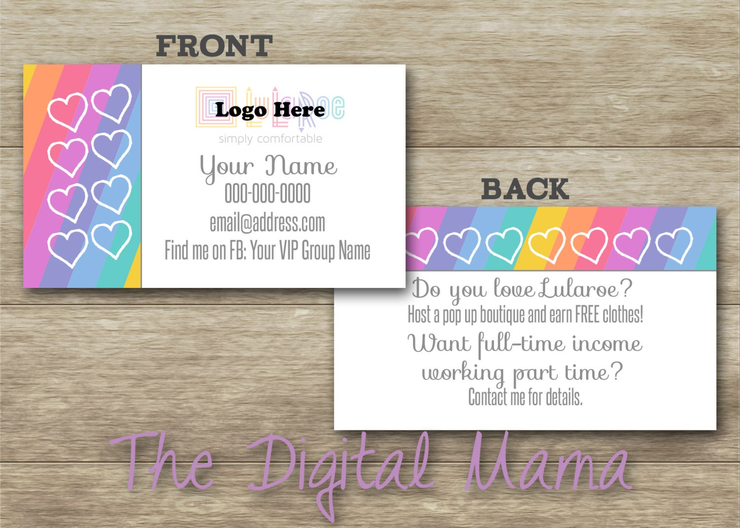 Lularoe consultant business cards design by thedigitalmama for Etsy lularoe business cards