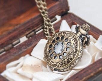 1 Pocket Watch Necklace Watch Necklace Watch Gifts Vintage Flower Watch -C212