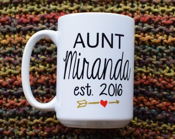 Aunt or Auntie Coffee Mug. Pregnancy Announcement!!