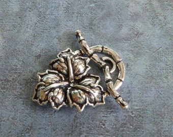 Leafy Clasp ~ 25mm x 17mm ~ Large Solid Sterling Silver