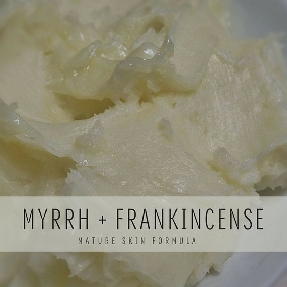 Myrrh + Frankincense Whipped Body Butter, Mature Skin Formula with Shea Butter and Organic Coconut Oil, Small Batch Body Butter, Unisex
