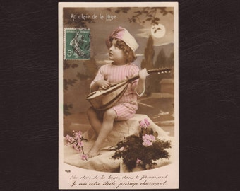 Boy in pajamas in the moonlight, French photo postcard -  RPPC, hand tinted, lute, moon, vintage, antique greeting card - 1909 (V7-52)