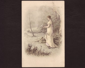 Girl walking in a forest, German edwardian postcard - Lithograph, romantic, woman, vintage, antique greeting card - ca 1900 (V11-30)