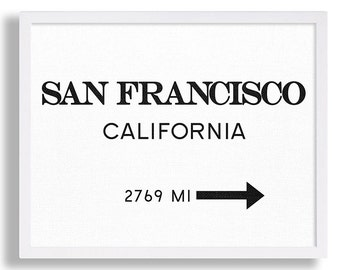 San Francisco Print Travel Poster Living Room Decor California Wall Art Modern Art City Sign Art Vintage Look Black and White Typography Art