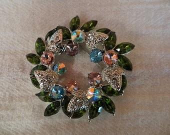 Vintage Multicolor Rhinestone Wreath Pin