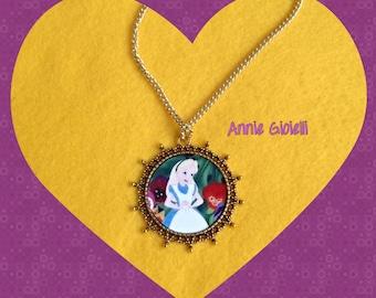 "Necklace ""Alice in Wonderland""-Alice pendant-jewelry-bijoux"
