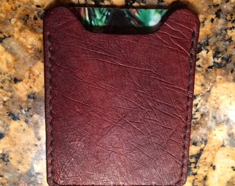 Smooth Ostrich Leather Money Clip with Card Holder