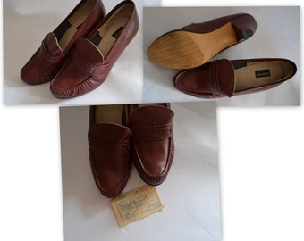1970s New Vintage 70s Shoes High Heel Pumps Burgundy Unworn Leather Heel Loafers