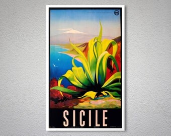 Sicile, Italy  Vintage Travel Poster  - Poster Print, Sticker or Canvas Print