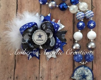 Dallas Football Bow With Matching Necklace