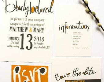 Simple Wedding Invites, Hand Lettered Wedding Invites, Modern Wedding Invitations, Custom Invites, [THE MARY SAMPLE]
